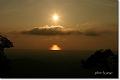 山から臨む夕陽